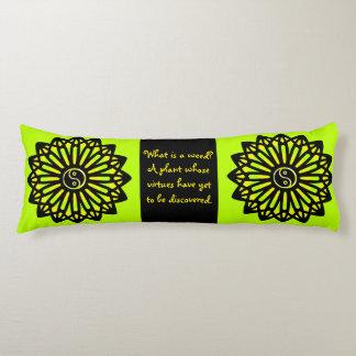 Yin Yang Inspire Wisdom, Lime Green, Yellow, Black Body Pillow