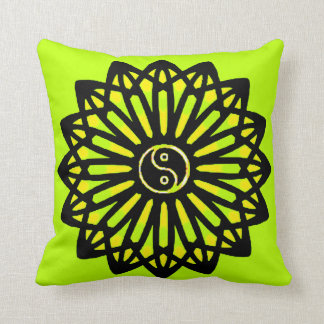 Yin Yang Inspire Wisdom, Lime Green, Yellow, Black Throw Pillow
