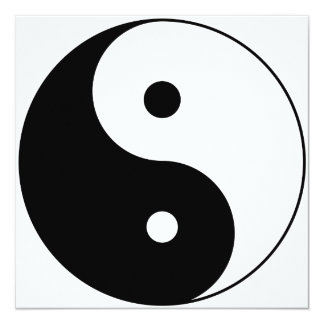 yin yang 5.25x5.25 square paper invitation card