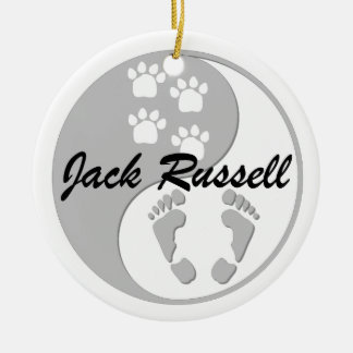 yin yang jack russell Double-Sided ceramic round christmas ornament