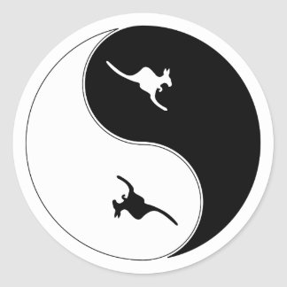 Yin Yang Kangaroo Classic Round Sticker