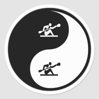 Yin Yang Kayaking Classic Round Sticker