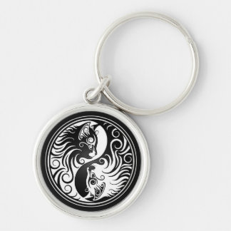 Yin Yang Kittens Silver-Colored Round Keychain