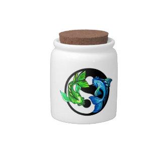 Yin-Yang Koi Design Candy Jar
