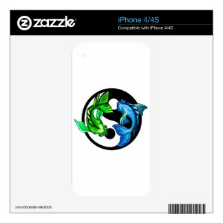 Yin-Yang Koi Design Decals For The iPhone 4
