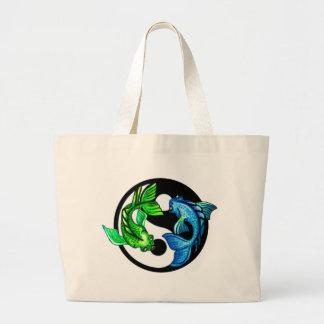 Yin-Yang Koi Design Large Tote Bag