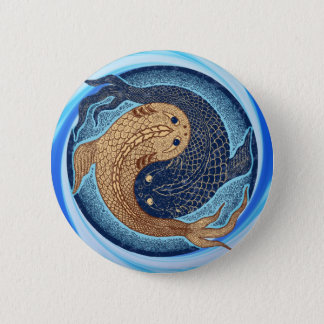 Yin Yang Koi Fish Mandala Pinback Button