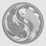Yin Yang Koi Fish with Stainless Steel Effect Classic Round Sticker