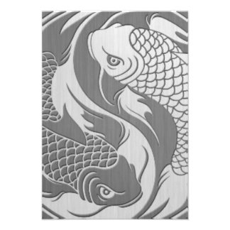 Yin Yang Koi Fish with Stainless Steel Effect Invitations