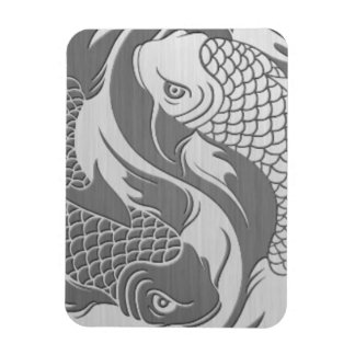 Yin Yang Koi Fish with Stainless Steel Effect Rectangular Photo Magnet