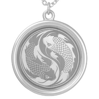 Yin Yang Koi Fish with Stainless Steel Effect Silver Plated Necklace