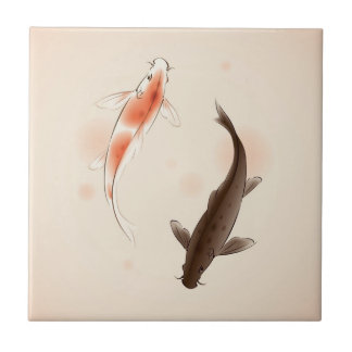Yin Yang Koi fishes in oriental style painting Ceramic Tile