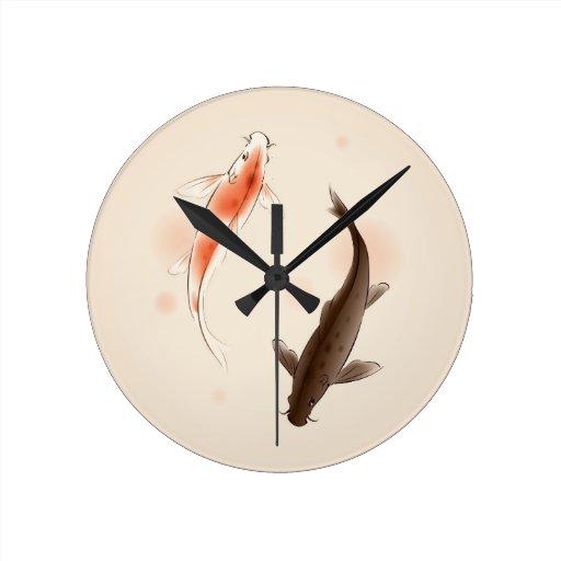 Yin Yang Koi fishes in oriental style painting Wallclock