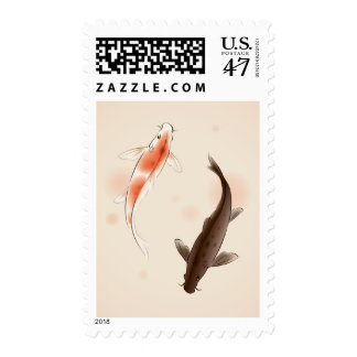 Yin Yang Koi fishes in oriental style painting Postage