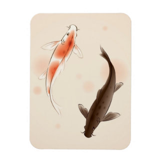 Yin Yang Koi fishes in oriental style painting Rectangular Photo Magnet