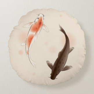 Yin Yang Koi fishes in oriental style painting Round Pillow