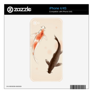 Yin Yang Koi fishes in oriental style painting Skins For The iPhone 4