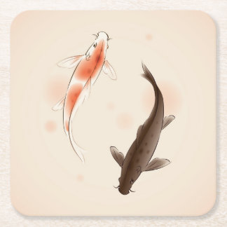 Yin Yang Koi fishes in oriental style painting Square Paper Coaster