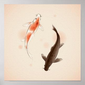 Yin Yang Koi pesca en la pintura oriental del esti Poster