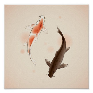 Yin Yang Koi pesca en la pintura oriental del esti Póster