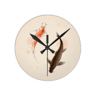 Yin Yang Koi pesca en la pintura oriental del esti Relojes De Pared