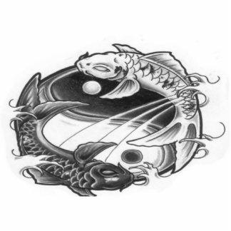 yin yang koi photo sculpture keychain