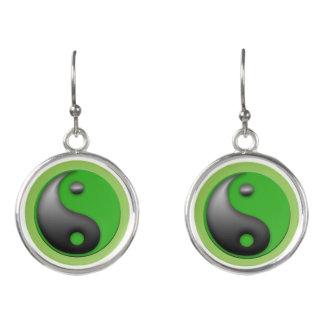 yin yang limey green earrings