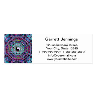 Yin Yang Mandala in Purple Colors Double-Sided Mini Business Cards (Pack Of 20)