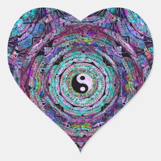 Yin Yang Mandala in Purple Colors Heart Sticker