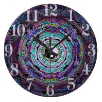 Yin Yang Mandala in Purple Colors Large Clock