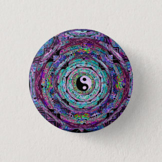 Yin Yang Mandala Purple Button