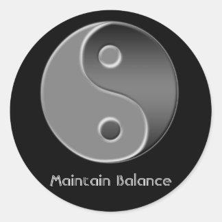 yin-Yang, mantiene la balanza Pegatina Redonda