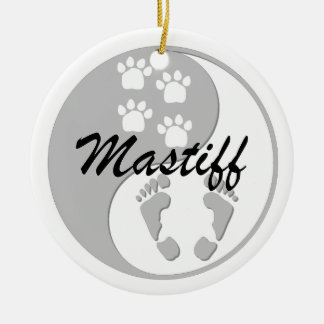 yin yang mastiff Double-Sided ceramic round christmas ornament