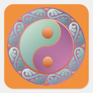 Yin Yang Medallion Violet Turquoise Square Sticker