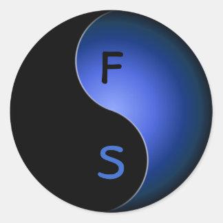 yin yang monogram - blue classic round sticker