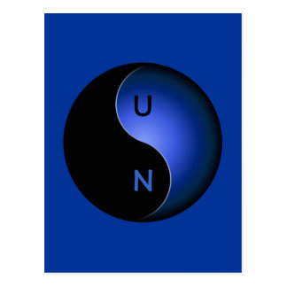 yin yang monogram - blue postcard