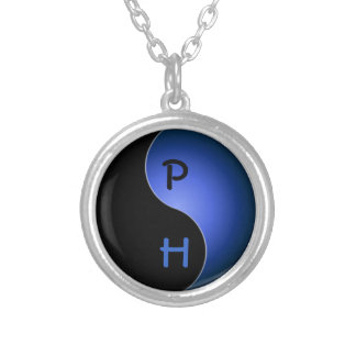 yin yang monogram - blue silver plated necklace