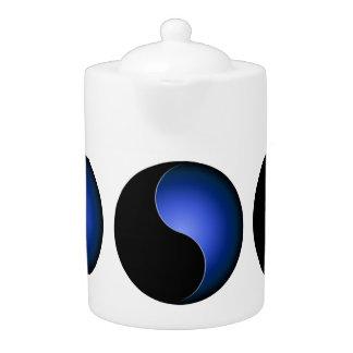 yin yang monogram - blue teapot