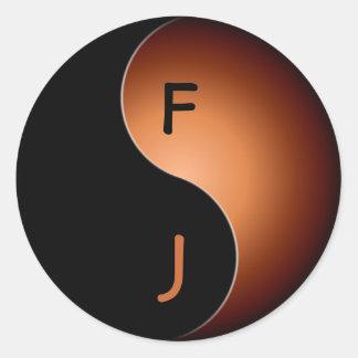 yin yang monogram - coffee classic round sticker