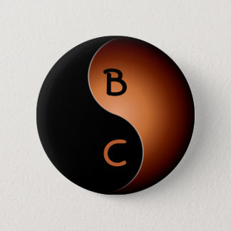 yin yang monogram - coffee pinback button