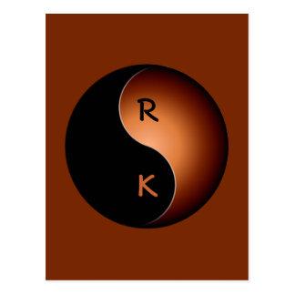 yin yang monogram - coffee postcard