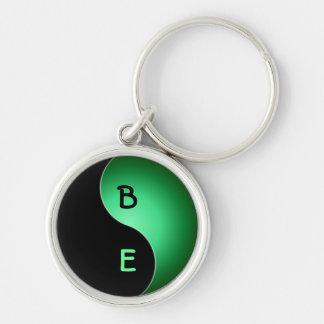 yin yang monogram - green keychain