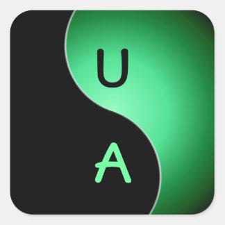 yin yang monogram - green square sticker