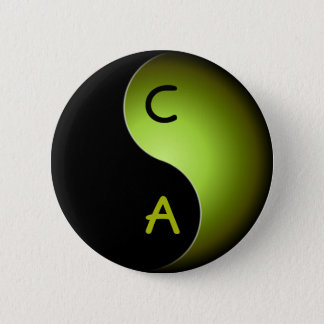 yin yang monogram - lime button