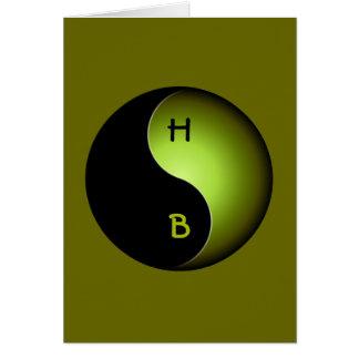 yin yang monogram - lime card
