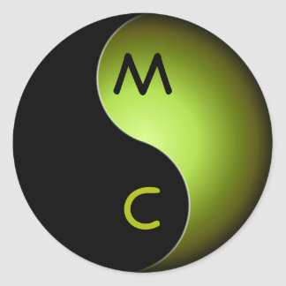 yin yang monogram - lime classic round sticker