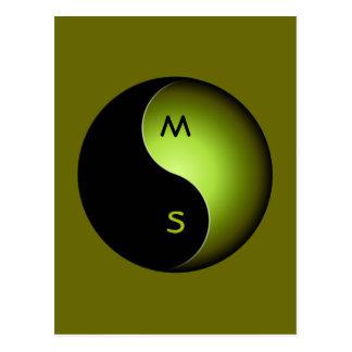 yin yang monogram - lime postcard