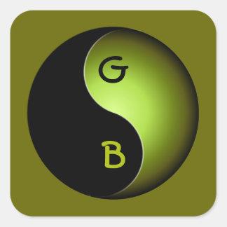 yin yang monogram - lime square sticker
