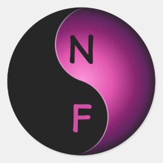 yin yang monogram - pink classic round sticker