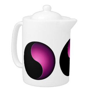yin yang monogram - pink teapot